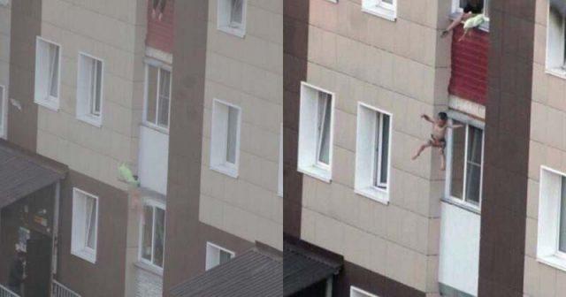 Жена спасила децата си от пожар, хвърляйки ги от прозореца (видео)